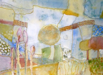 Dagmar Franolić - Seosko popodne / Afternoon in the Village / Nachmittag im Dorf, 2007, akvarel / watercolour / Aquarelle, 53 x 72 cm