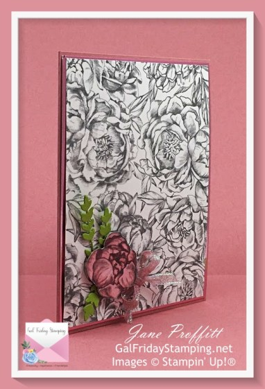 Focus on the beautiful designer series paper, foil sheet from Love You Always Suite and rococo rose
