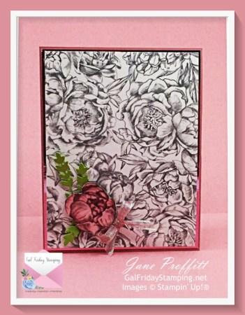 Peony Garden is the focus of today's beautiful designer series paper card.