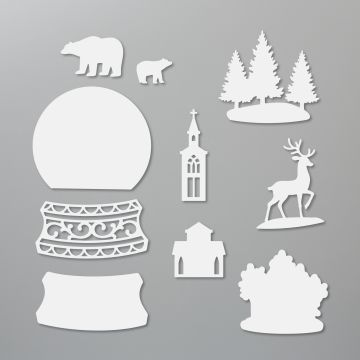 This is the Snow Globe Scenes dies that coordinate with the Still Scenes stamp set and also the Zoo Globe stamp set.