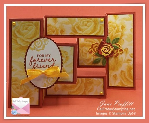 Lot's of layers and pieces to create this fun fold card using the Brushed Blooms stamp set and Terracotta Tile In-Color
