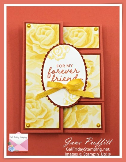 Brushed Blooms, Terracotta tile In-Color fun fold card live tonight with Gal Friday Stamping