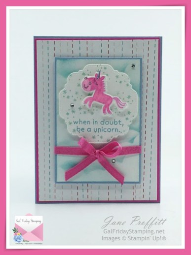 Let's be a unicorn is the card today.  This sweet unicorn in magenta madness has a bit of wink of stella on her to add some sparkle.