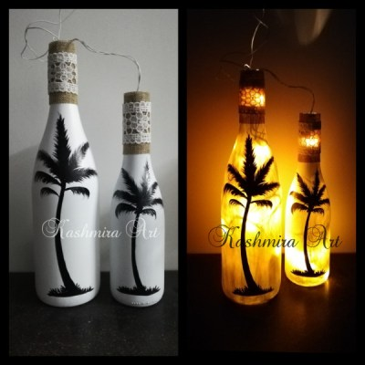 Handpainted Bottles with String Lights