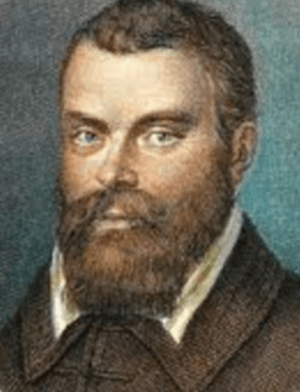 Head and shoulders of Galileo with beard