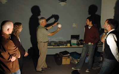 Participants modeling Earth-Moon interactions.