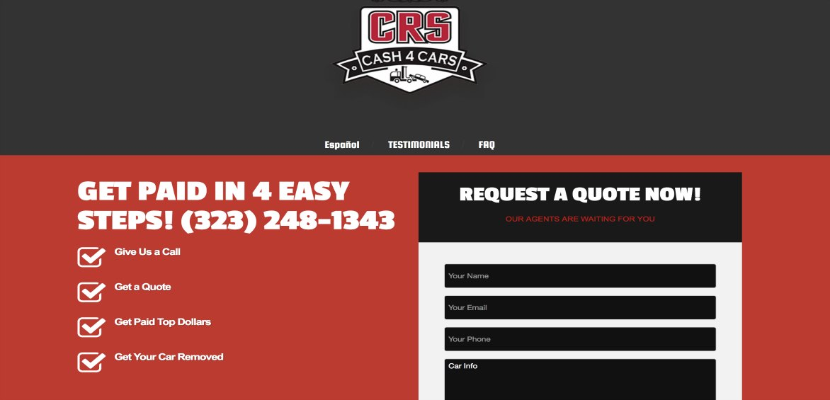 Landing Page, CRS website example