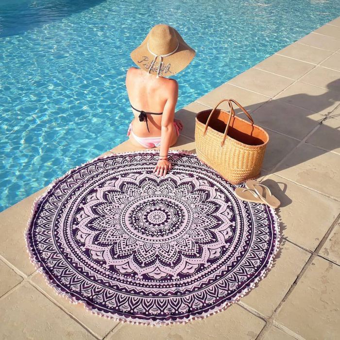 Mandala Personalized Round Beach Towel