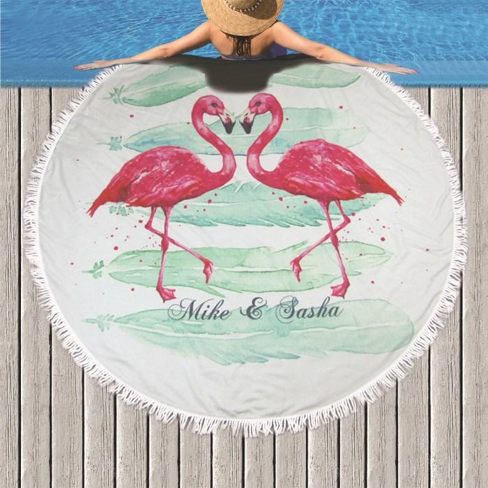Flamingo couple beach towel