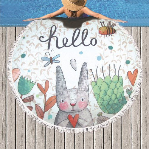 Cartoon Rabbit Beach Towel