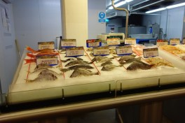 Seafood display at the Ley supermarket