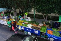 looking into a streetside stall