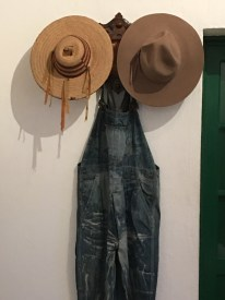 Diego's overalls and hats.