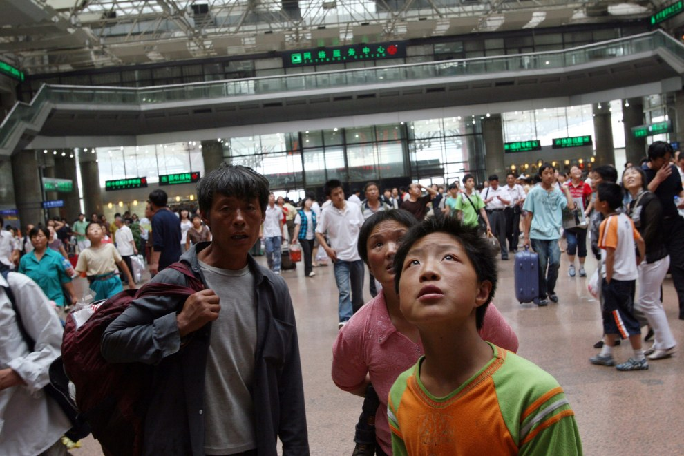 Passengers in Beijing's west train station.