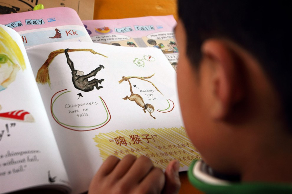 A schoolchild reads a book in a village in Inner Mongolia. Roots and Shoots works to educate locals about the importance of planting trees and protecting ecosystems.
