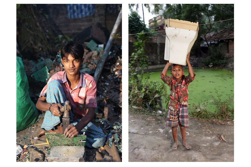 In the village of Sangrampur near Kolkata, children take part in the E-Waste recycling process. Lead, mercury, arsenic and other toxic elements are released in the breakdown process and those who handle the waste have little to protect themselves from the harmful materials.