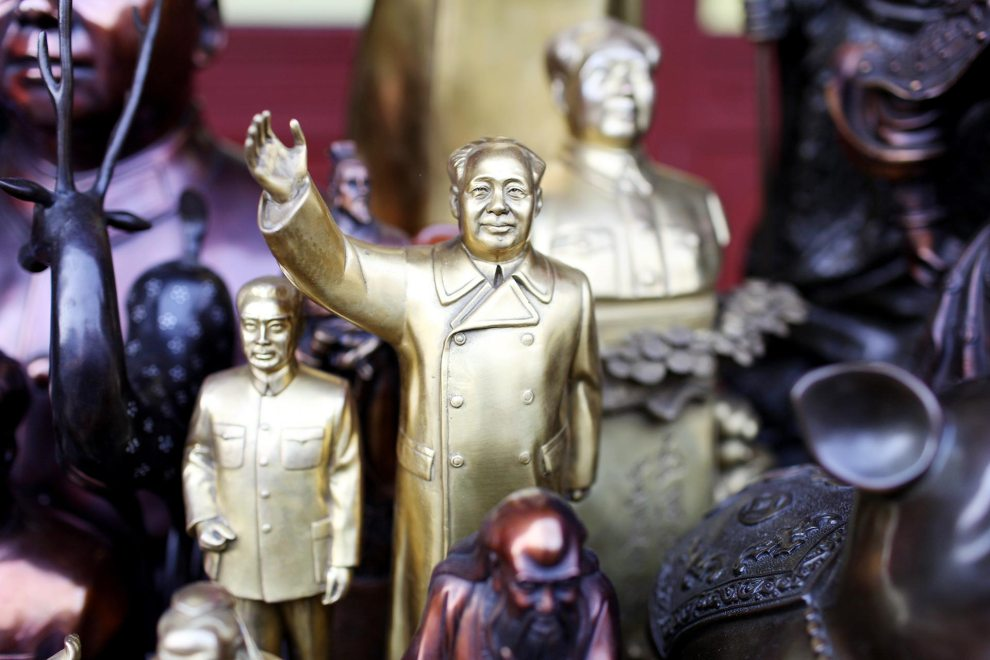 Statuettes of Mao Zedong, the former Chinese Communist Party leader, on sale in a market.
