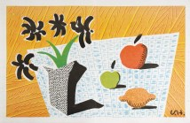 Hockney - Two Apples & One Lemon & Four FLowers, Lithograph, 33 x 52cm