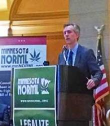 Attorney Thomas Gallagher speaking at Minnesota Capitol Rotunda on 4-20