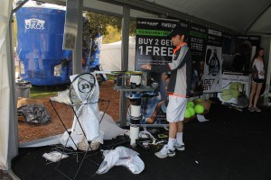Racket stringing tent was  popular .