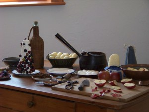 Display of some of the tools and foods of the kitchen at Robert Mills House and Gardens