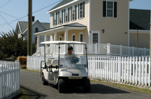 Golf carts, scooters, and bicycles are major transportation modes on the island's narrow paths.