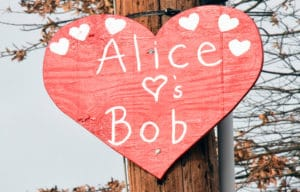 The small white hearts indicate on the large heart the number of times Alice or Bob - or both have supported this annual St. Michaels fund raiser