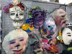 Incredble Felted Masks in the Fiber Arts Building at the Fryeburg Fair.