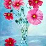 røde blomster i glasvase