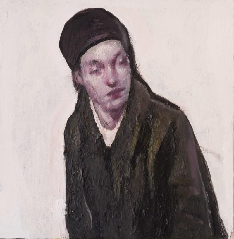 donna pensierosa, olio su tvola, 47x46 cm