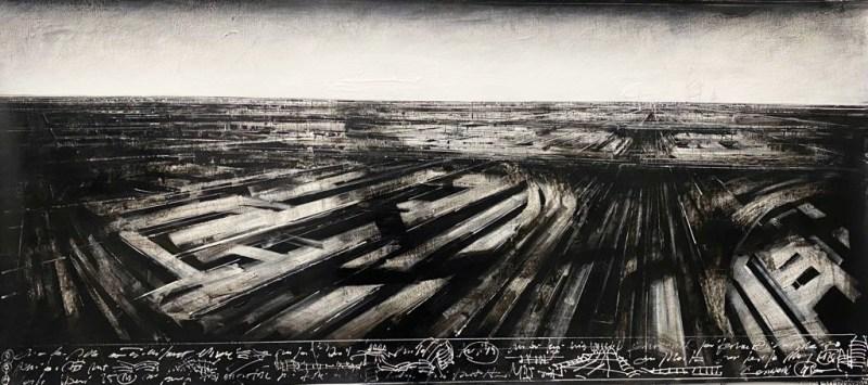 Jonathan Guaitamacchi, London , 2021, olio su tela, 65x150 cm