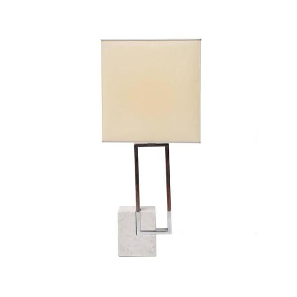 1970s Table Lamp, Carrara marble and chrome metal