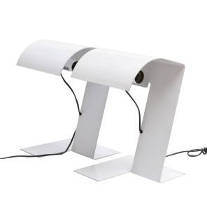"""F. Trabucchi, M. Vecchi, L. Bocchi, Coppia lampade da tavolo """"Blitz"""" - Stilnovo, 1977, cm h 37, Alluminio stampato laccato bianco"""