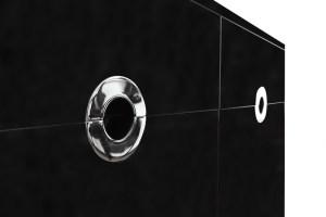 Willy Rizzo, Credenza nera, prod. Sabot, 1972, cm 177x48x75h, Legno laminato e cromo