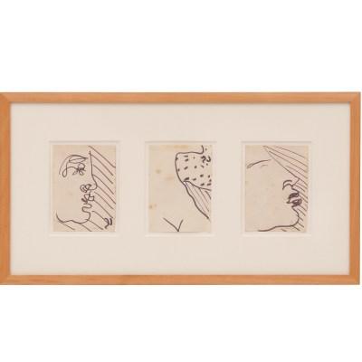 Carlo Scarpa, Figure, anni '70, Carlo Scarpa, Figure, anni '70, cm 9x13 cad., pennarello su carta pennarello su carta