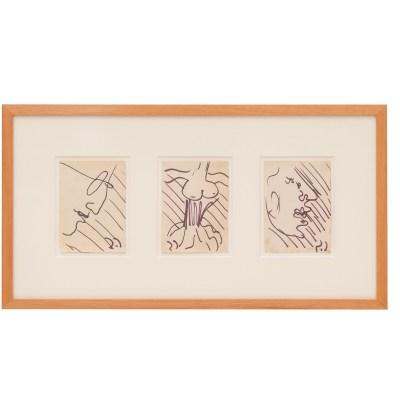 Carlo Scarpa, Figure, anni '70, cm 9x13 cad., pennarello su carta