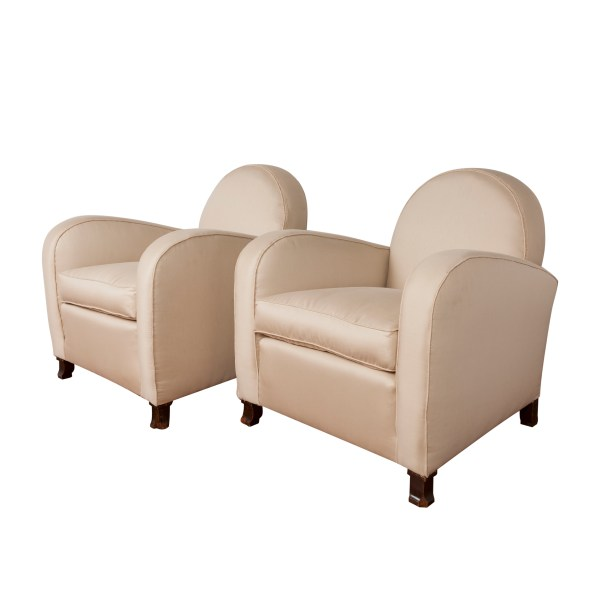 Armchairs, '30s, stuffed with wood bases, cm 78x73x82h