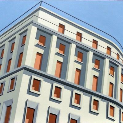 Marco Petrus, Trieste (Palazzo di Piacentini), 2008, cm 90x80h, olio su tela