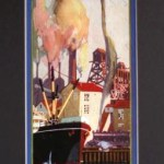 Retro art print featuring the port of Oakland