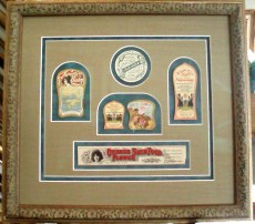 framed vintage labels