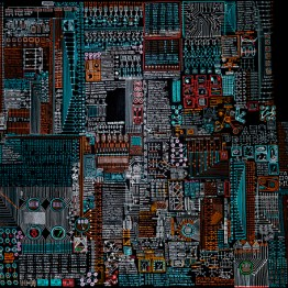 Motherboard, 2016. Oil and acrylic pen on linen canvas. 150 × 200 cm.