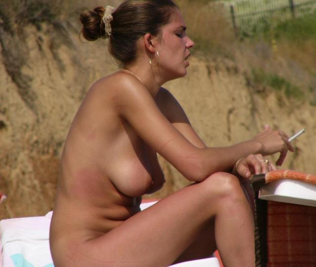 Topless Women Smoking At Beaches