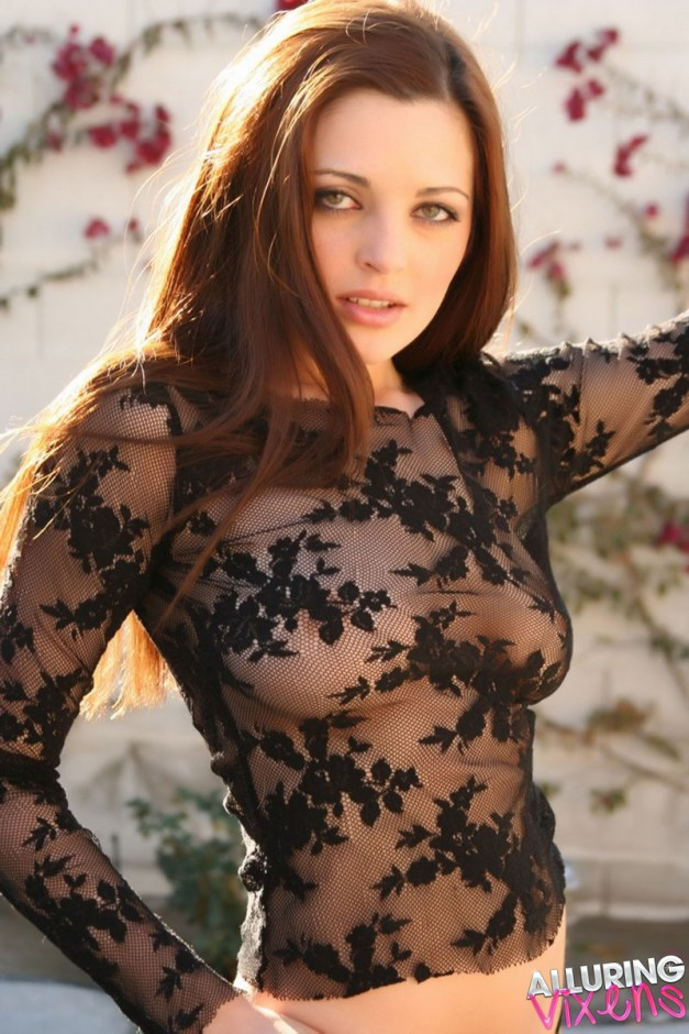 Sexy Alluring Vixen babe Maya teases with her perfect perky boobs in an almost sheer lace top outdoors