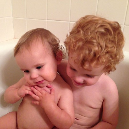 two boys in the bath