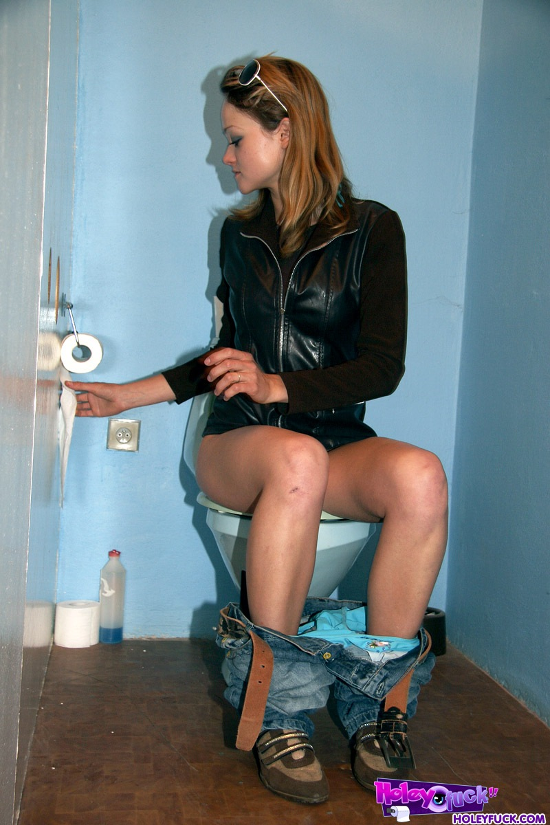 Solid dick appears in a public toilet in front of chick Petra Holey Fuck! What\u0026#39;s coming through