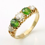 Demantoid Garnet Diamond Ring