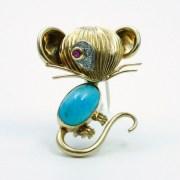 Turquoise Ruby Diamond Brooch, Van Cleef &Arpels Paris