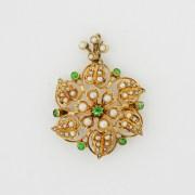 Demantoid Garnet Pearl Brooch Pendant