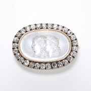 Moonstone Cameo Diamond Brooch 、 Tiffany and Co.