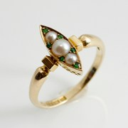 Pearl Demantoid Garnet Ring